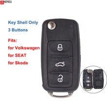 Keyecu para volkswagen para seat para skoda octavia citigo arosa substituição de controle remoto chave caso do escudo fob capa habitação