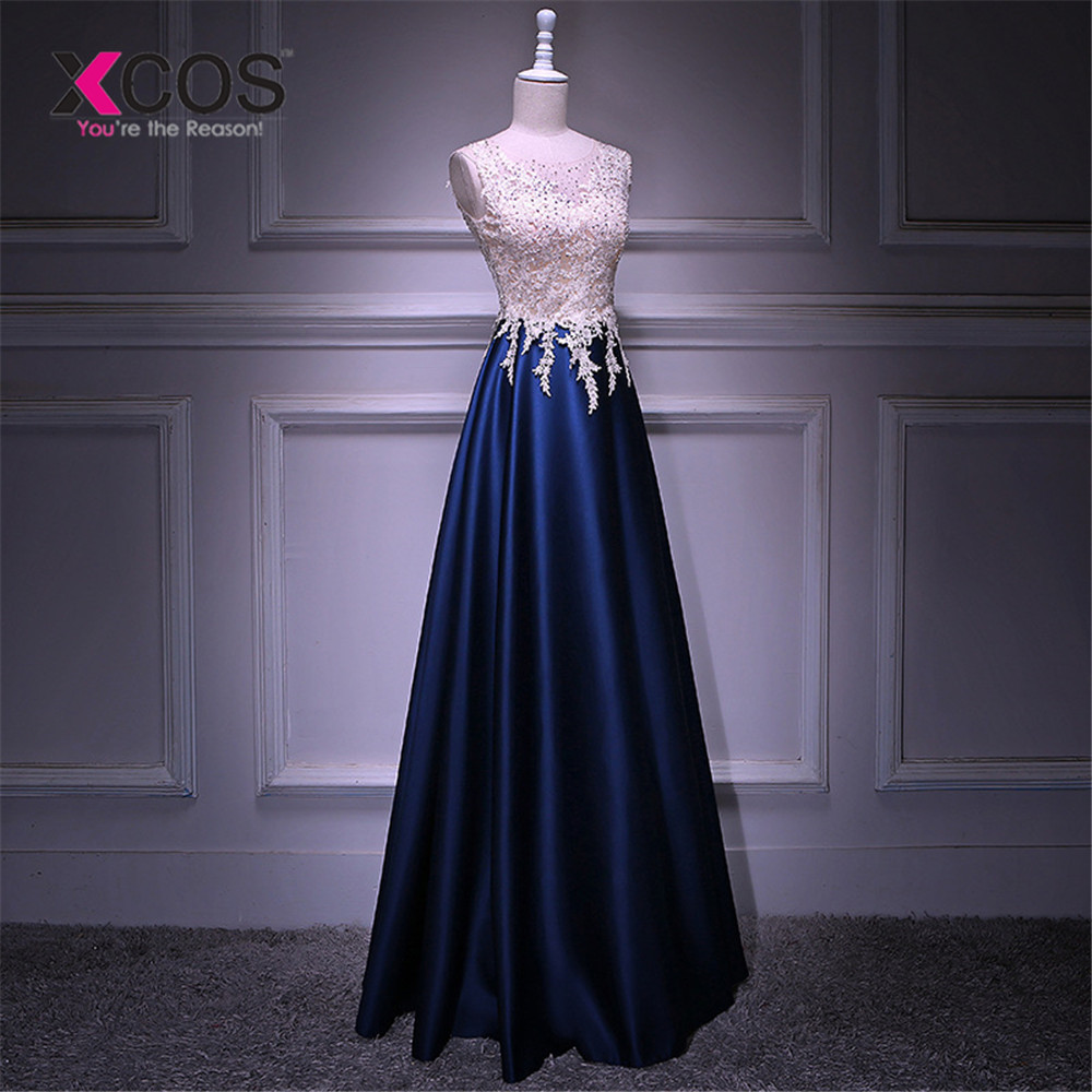 XCOS O-Line Long   Evening     Dress   Sleeveless Elegant Special Occasion   Dresses   2019 Vestido De Festa New A-Line Prom Gowns