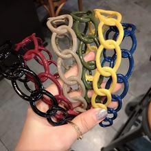 Корейская цветная повязка на голову с полой цепью, широкая повязка на голову для девочек, Красивая повязка на голову для девочек G1129