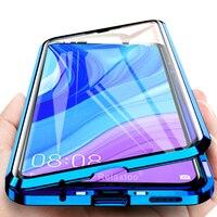 Funda abatible magnética para huawei nova 5t y9s p smart pro 2019 p30 lite, cubierta de metal con cristal templado de doble cara