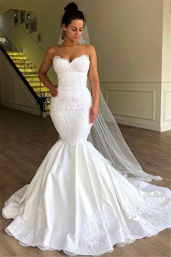Mermaid Corset Wedding Dresses Lace Up Spaghetti Strap Bridal Gowns Applique Lace Vestido Novia Sweep Train African Girls Wedding Dresses Aliexpress