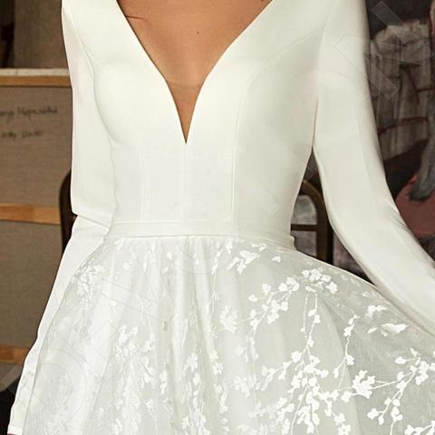 Robe de mariee Vintage Long Sleeve Lace Satin Wedding Dress Sexy Deep V Neck Backless Bride Dress for Wedding Multan