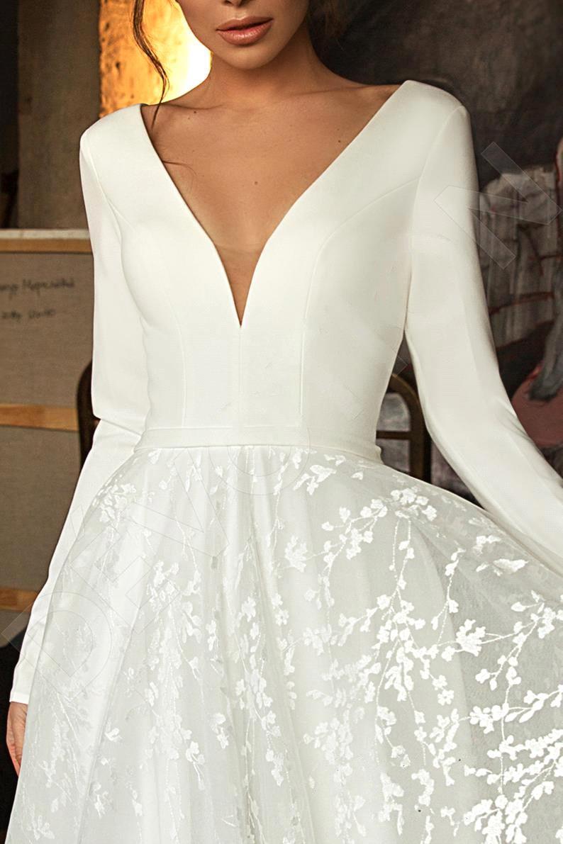 Robe de mariee vintage manga longa laço cetim vestido de casamento sexy decote em v profundo sem costas vestido de noiva para casamento - 5