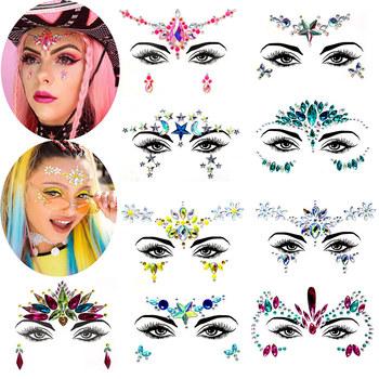 3D twarz kryształki brokatu klejnoty tatuaż naklejki kobiety moda twarz ciało klejnoty Gypsy festiwal ozdoby Party uroda makijaż naklejki tanie i dobre opinie handaiyan Chiny GZZZ YGZWBZ 18112303 Glitter Sticker SB18112303 1 pcs Glitter Mermaid Face Eye Body As the picture shows