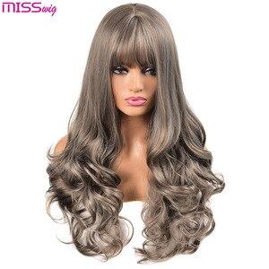 Image 5 - Длинные волнистые парики MISS WIG для чернокожих женщин, афроамериканские синтетические волосы, розовые, коричневые, с челкой, термостойкий
