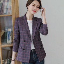 Fashion women blazer 2019 New long sleeve Double Breasted gray purple plaid slim jacket office ladies casual coat