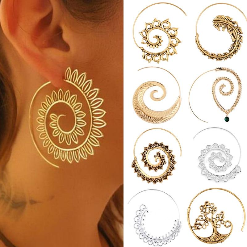 Earrings For Women Fashion Spiral Modern Heart Leaf Tree Vintage Golden Silver Glamour Trend Sexy Beach Vacation Dangler Earring