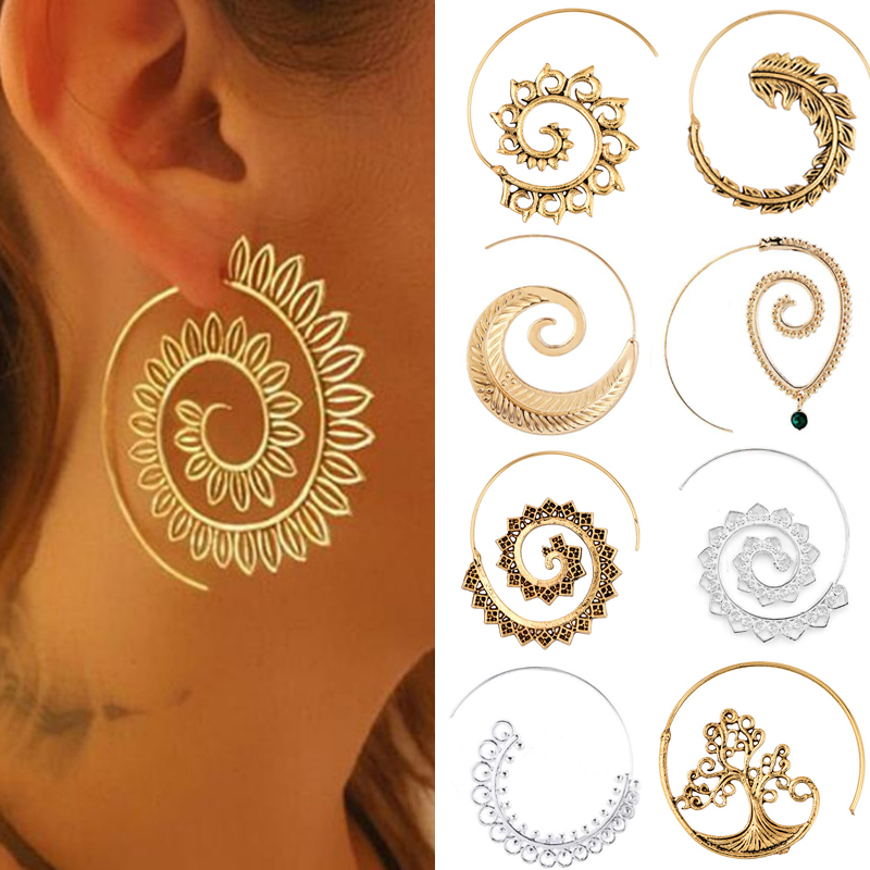 Earrings For Women Fashion Spiral Modern Heart Leaf Tree Vintage Golden Silver Glamour Trend Sexy Beach Vacation Dangler Earring
