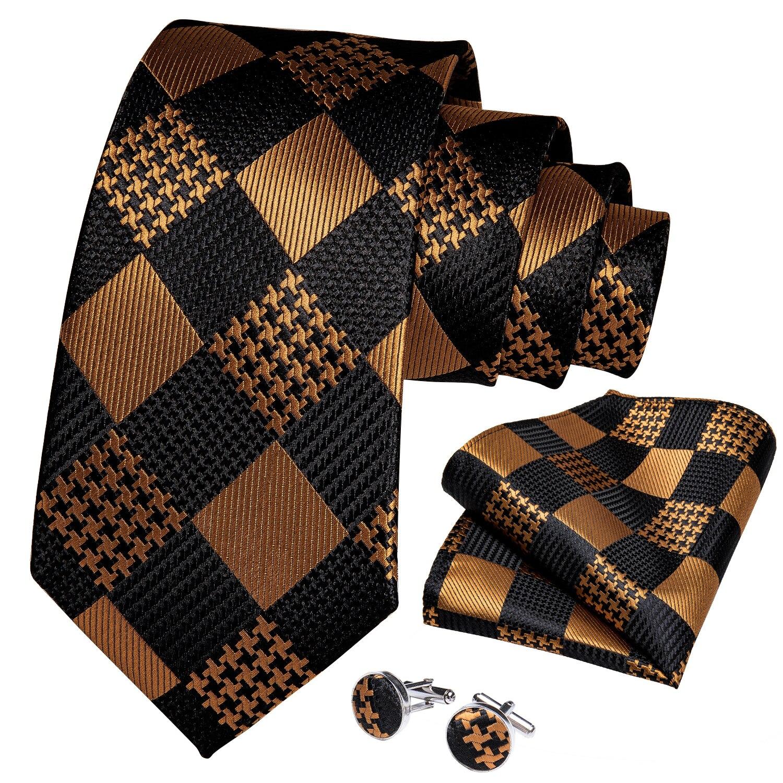 Navy Gold Black Checks Stripped Silk Mens Tie Necktie Clip Hanky Cufflinks Set