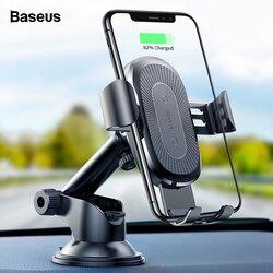 Baseus 10 w carregador de carro sem fio para iphone 11 pro xs max samsung s10 nota 10 qi carregador sem fio carregamento rápido suporte do telefone carro