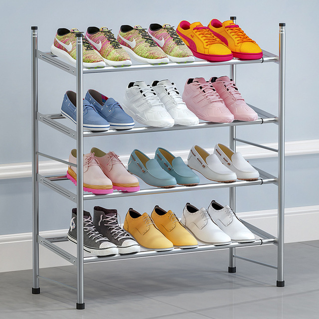 60~110cm Telescopic Multilayer shoe rack iron tube Shoes Storage Organizer Shelf stable Stand Living Room Shoe cabinet Furniture