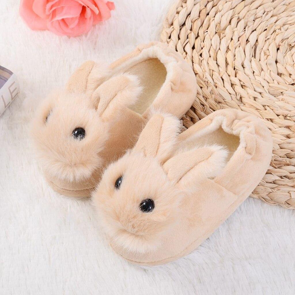 Hb70812b3f25845dabb706355f3da62daS Sapatos para crianças de algodão, sapatos para crianças meninos e meninas de outono, chinelos fofos com orelhas de coelho, espessamento de bola, sapatos internos