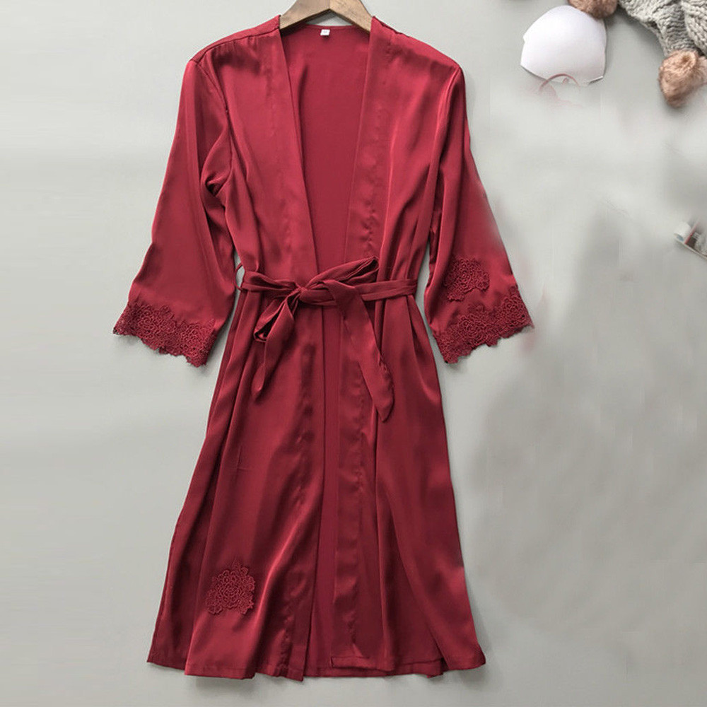New Red Women Silk Bridesmaid Robes Satin Sleepwear Robes Sexy Ladies Dressing Gown Wedding Nightdress Silk Kimono Robe Bathrobe