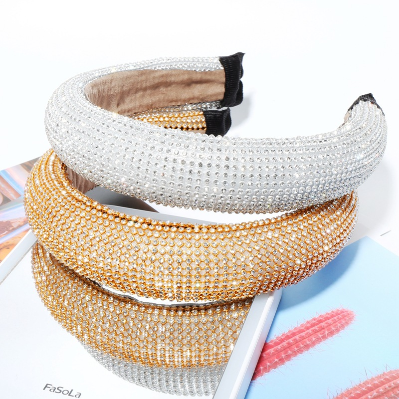 Gold Sliver Full Cover Rhinestone Padded Headband Women Crown Hairband Women Hair Accessories Super Shining Hair Hoop