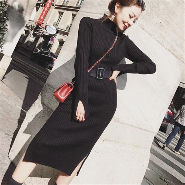 Korean High Waist Sweater Split Dresses