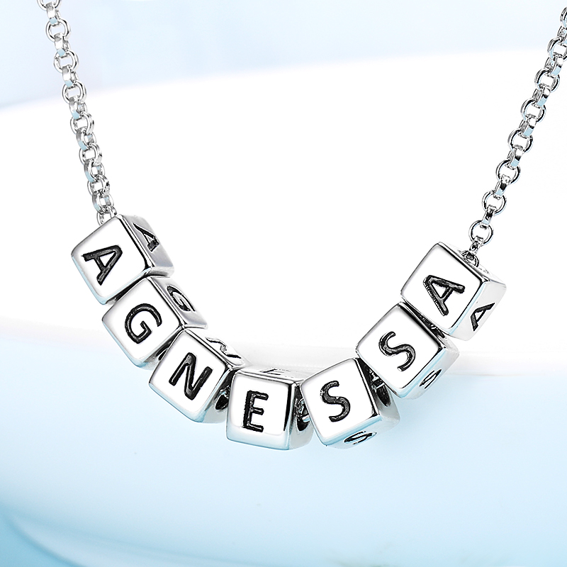 StrollGirl 925 Sterling Silver Personalized Jewelry Custom Letter Necklace Engrave Name Pendant Chain For Women 2020 Party Gift