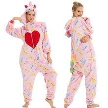 2019 Volwassenen Pyjama Vrouwen Cartoon Nachtkleding Eenhoorn Pyjama Flanel Leuke Animal Pajama Set Hooded Pyjama Cosplay Rompers(China)