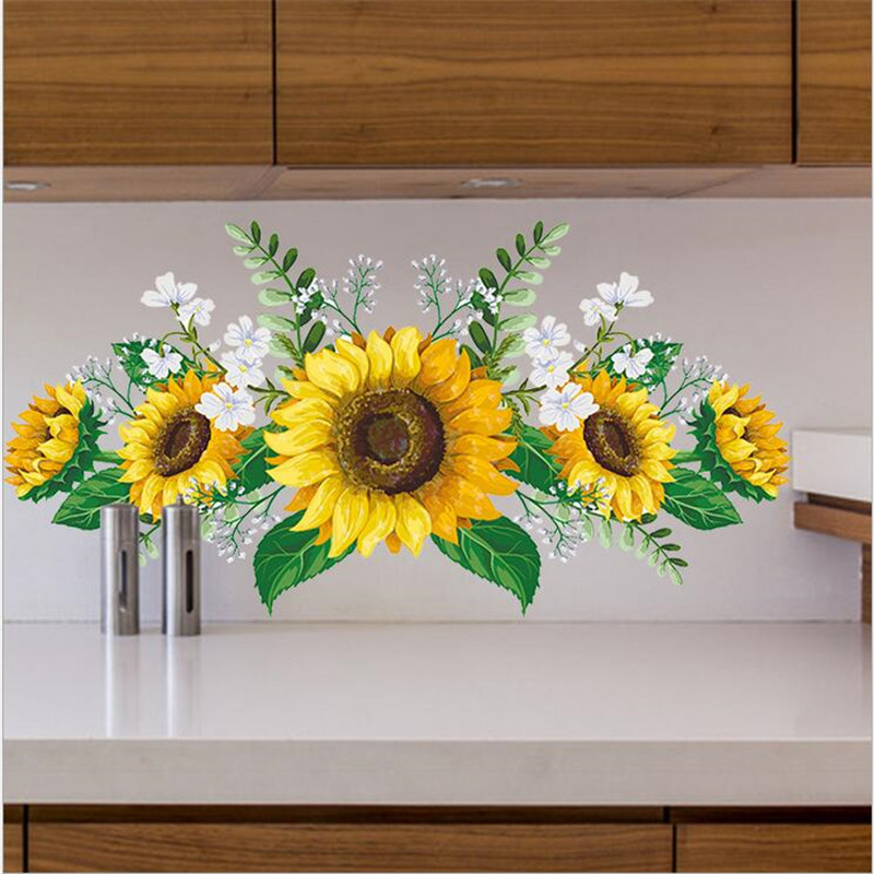 1PCS Removable Sunflower Wall Sticker Kitchen Waterproof Decals Wallstickers For Kids Room Living Room Bedroom Home Decoration