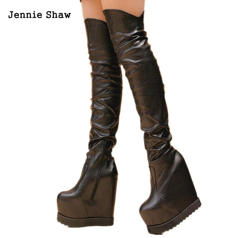 16cm High Heel Knee High Boots Over The Knee Ladies' Boots White Black Shoes Fashion  Thigh High
