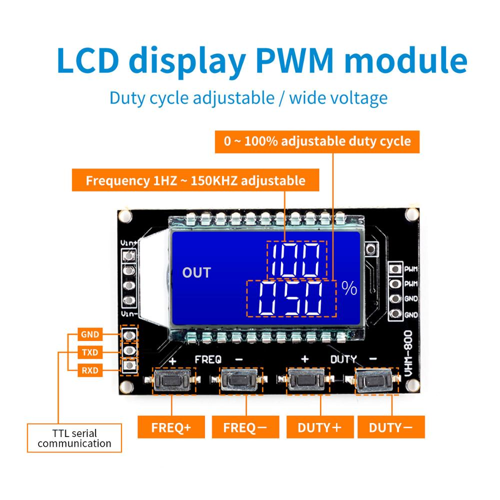 2/3 Channel Signal Generator PWM Pulse Frequency Duty Cycle Adjustable Module LCD Display 1Hz-150Khz 3.3V-30V PWM Board Module