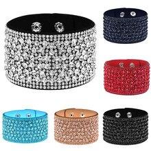 Louleur – Bracelets en cuir et cristal pour femmes, large, fait à la main, pour filles, bijoux de fête
