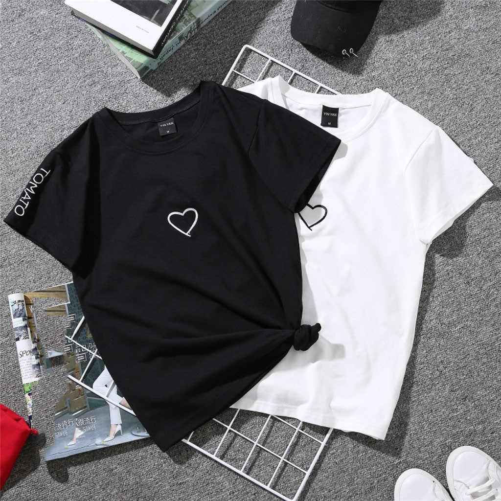 ファッション男性女性の手紙 Tシャツカジュアル夏 tシャツレディース O ネックチュニックトップス女性半袖シャツ Blusas プルオーバー