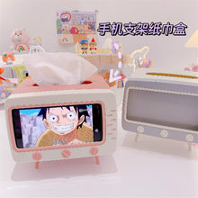 2020 Creative TV Tissue Box Desktop Paper Holder Dispenser Storage Napkin Case Organizer with Mobile Phone Holder