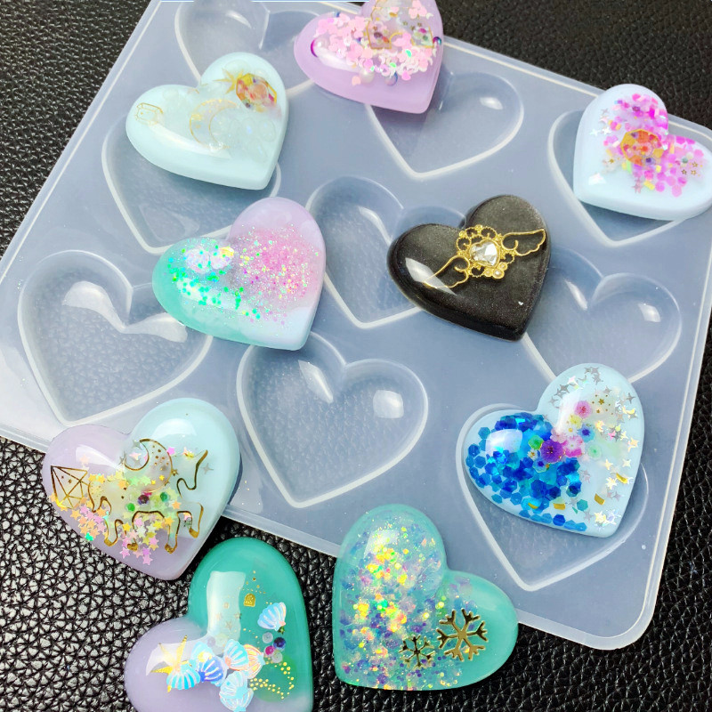 SNASAN Love Heart Silicone Mold Jewelry Making DIY Tool UV Epoxy Resin Molds Dried Flower Resin Decorative Crafts