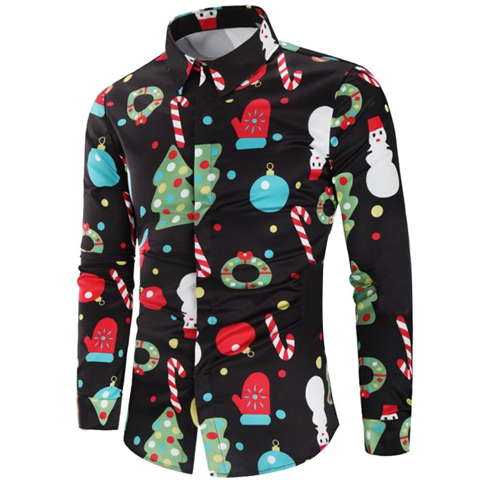 Merry Christmas Men Shirt Santa Claus Snowmen Candy Cane Chemise Homme Streetwear Spring Autumn Mens Shirts FormalWear Blouse