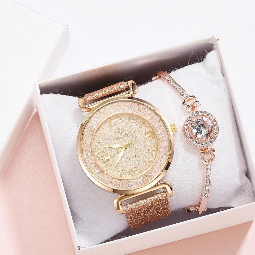 2 шт./компл. Роскошные модные простые часы с кожаным ремешком, женские часы с полностью бриллиантовым браслетом, кварцевые наручные часы с по...