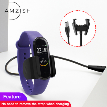 amzish 1M USB Cable Charger For Xiaomi Mi Band 4 5 3 2 Charging Adapter MiBand 5/4/3/2 NFC Disassembly-free