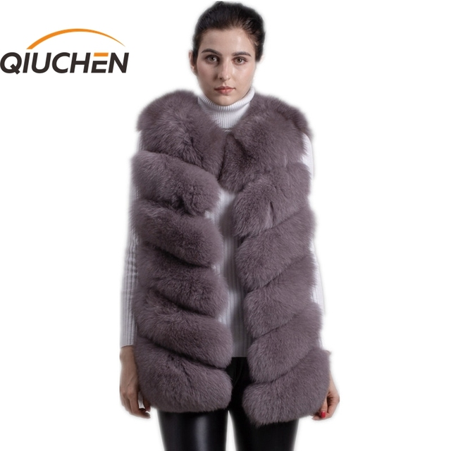 QIUCHEN PJ8049 2020 New arrival Hot Sale real Fox Fur Vest Authentic Fashion Perfect With High Heels Quality Solid