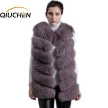 QIUCHEN PJ8049 2020 חדש הגעה מכירה לוהטת אמיתי שועל פרווה אפוד אותנטי אופנה מושלם עם עקבים גבוהים באיכות מוצק