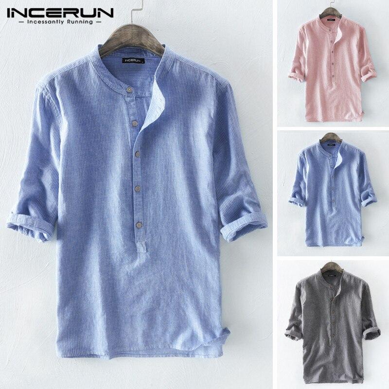 Cotton Men Striped Shirt 3/4 Sleeve Casual 2020 Round Neck Streetwear Loose Blouse Harajuku Brand Shirt Men Camisa S-5XL INCERUN