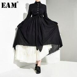 [EAM] asymétrique demi-corps jupe deux pièces costume nouveau revers à manches longues noir ample femmes mode printemps automne 2020 JR4740