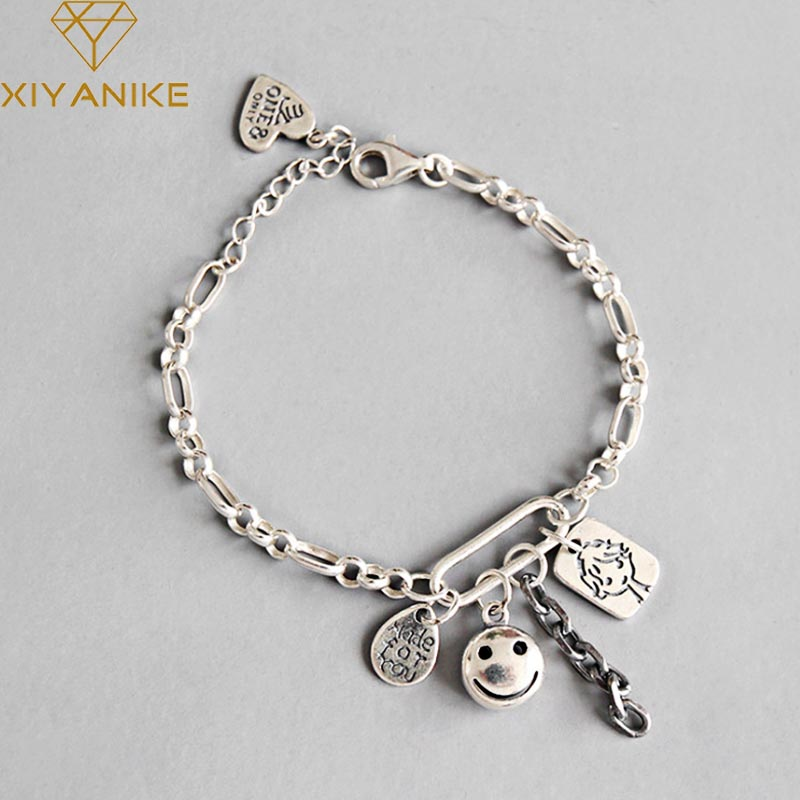 XIYANIKE Newly Arrived 925 Sterling Silver Bracelets & Bangle Jewelry For Women Trendy Simple Letter Geometric Wrist Accessories