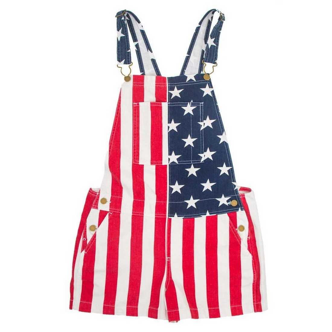 Kadın erkek Denim tulum kot şort amerikan bayrağı baskı rahat çift tulum şort Romper kısa pantolon Streetwear