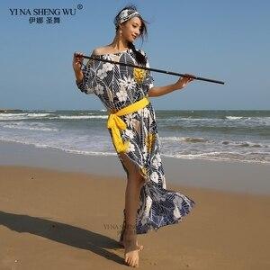 Новая модная женская Одежда для танцев, одежда для танца живота, Baladi, платье, цельное платье saidi, костюм с цветочным рисунком для девочек, пла...