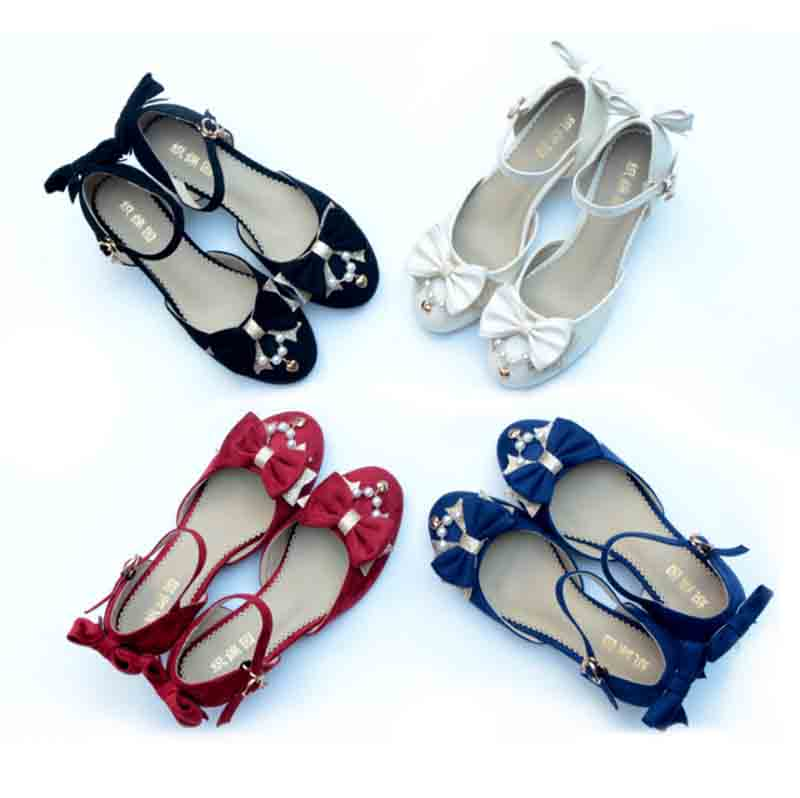 Girls <font><b>Lolita</b></font> <font><b>Shoes</b></font> Velvet Bow Cute <font><b>Shoes</b></font> GIrls <font><b>Shoes</b></font> High Heels 5cm <font><b>Red</b></font> Blue Black Beige PU&Velvet <font><b>Shoes</b></font> For Lady Girls 35-39 image