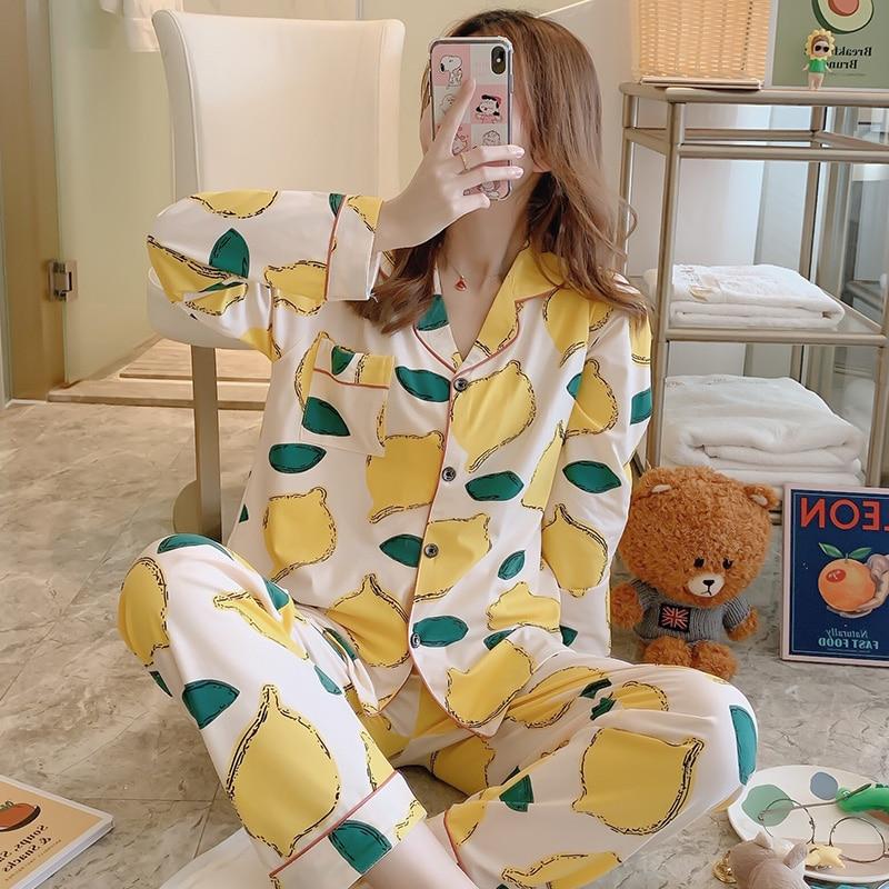 2020 Women's Casual Pajamas For Spring Summer Cotton Good Quality Lapel Pyjama Sets Comfortable Night Sleepwear