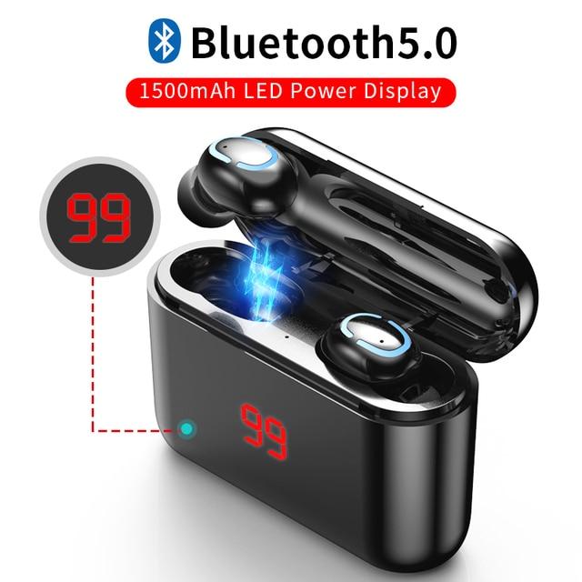 True Bluetooth 5.0 Oortelefoon Hbq Tws Draadloze Headphons Sport Handsfree Oordopjes 3D Stereo Gaming Headset Met Microfoon Opladen Doos