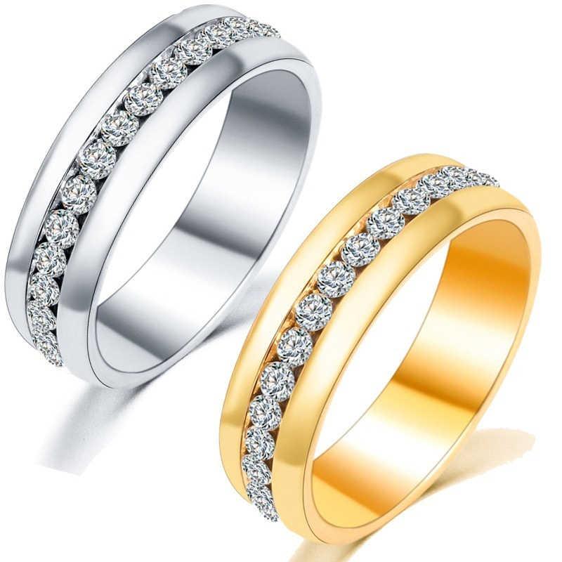 ผู้หญิงผู้ชายเงินทองสีฟ้าคู่แหวนหญิงวันวาเลนไทน์ของขวัญเครื่องประดับไทเทเนียมสตีลคริสตัลแหวน