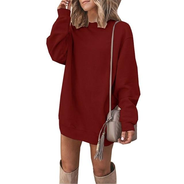 CUHAKCI Fashion Women Sweatshirt Dress Long Sleeve Jumper Autumn Casual Pullover Round Neck Ladies Solid Vestidos Plus Size 3