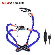 Newacalox terceiro suporte de solda manual, usb 3x iluminado lupa reparo solda ferramenta manual de solda estação de solda