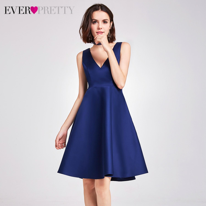 Simple Satin Homecoming Dresses Ever Pretty EP05894NB A-Line V-Neck Sleeveless Elegant Evening Short Dresses Vestidos Cortos