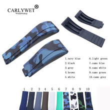 CARLYWET 20mm Camo Rubber Replacement Wrist Watch Band Strap For Rolex Submariner Datejust GMT Submariner Daytona Oysterflex(China)