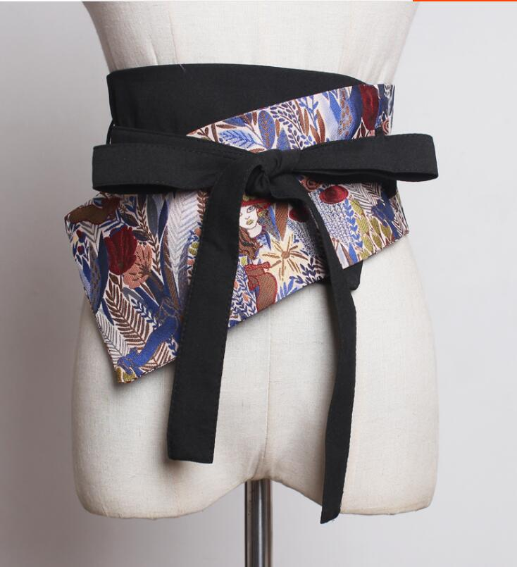 Women's Runway Fashion Vintage Bow Fabric Cummerbunds Female Dress Coat Corsets Waistband Belts Decoration Wide Belt R1781