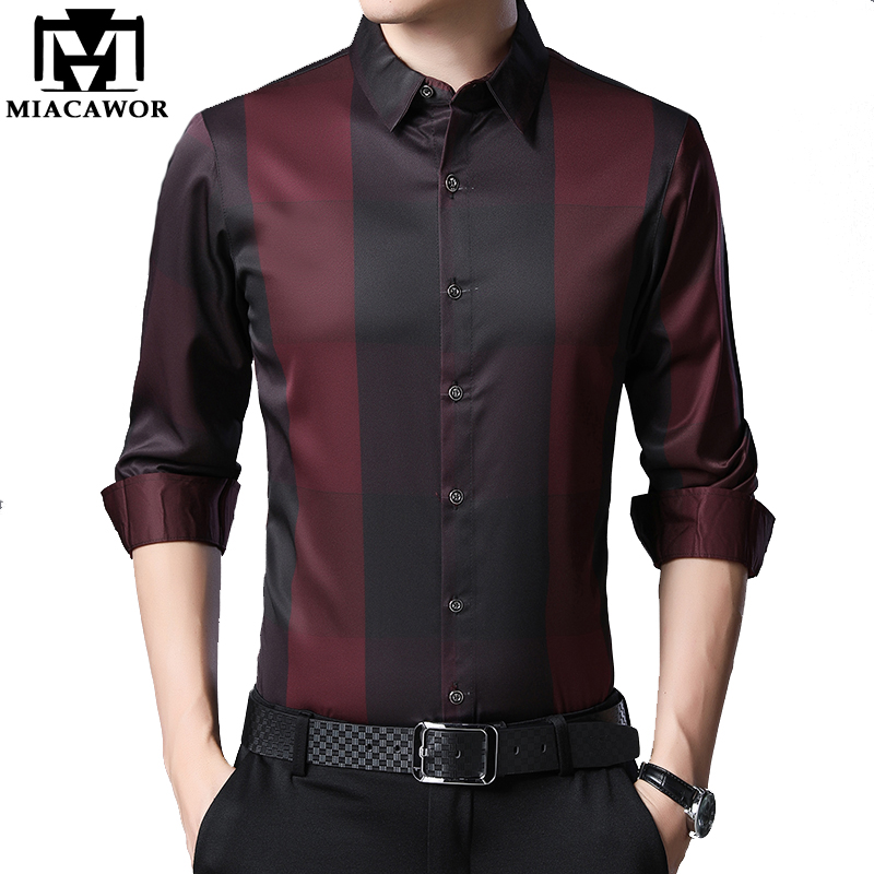 MIACAWOR New 2020 Brand Dress Shirt Men Spring Long Sleeve Plaid Shirts Slim Fit Camisa Masculina Casual Men Shirts C576