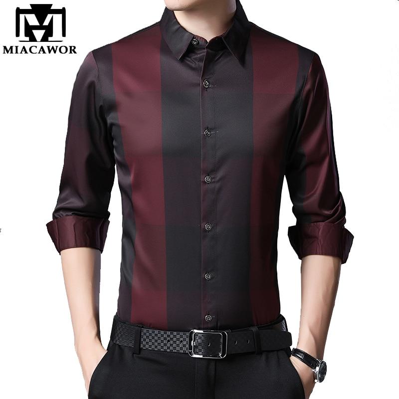 MIACAWOR New 2020 Brand Dress Shirt Men Spring Long Sleeve Plaid Shirts Slim Fit Camisa Masculina Casual Men Shirts C576