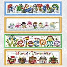 Набор для вышивки крестиком с изображением снеговика, распродажа тканевых ниток с рождественским принтом совы, для творчества, домашний де...